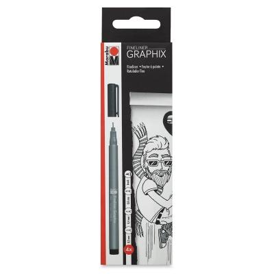 Fineliner Graphix Pens, Black, Set of 4