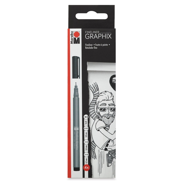 Fineliner Graphix Pens, Black, Set of 4