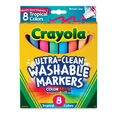 Washable Markers, Set of 8, Tropical Colors, Broad Tips