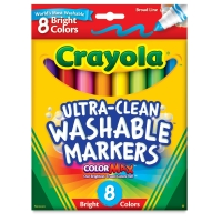 Washable Markers, Set of 8, Bright Colors, Bold Tip