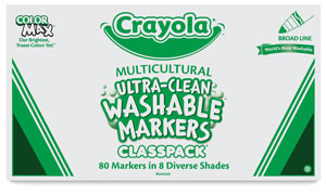 Washable Markers, Classpack of 80 Multicultural Markers, Broad Tips