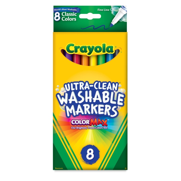 Washable Markers, Set of 8, Classic Colors, Fine Line