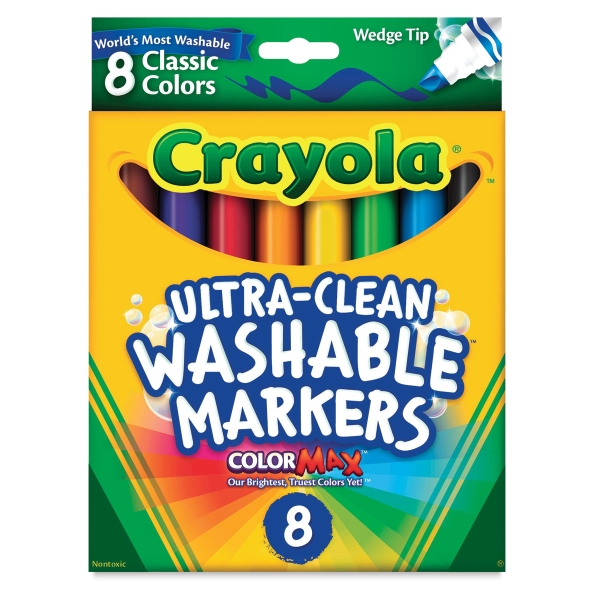 Washable Markers, Set of 8, Classic Colors, Wedge Tips