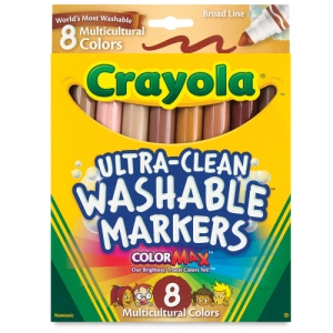 Washable Markers, Set of 8 Markers, Multicultural, Broad Tips