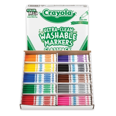Washable Markers, Classpack of 200 Assorted Colors, Fine Line