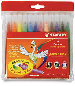 Power Max Markers, Wallet of 12 Colors