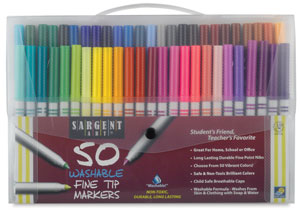 Fine Tip Washable Markers, Set of 50
