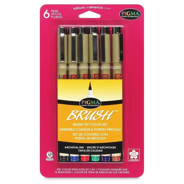 Set of 6 Brush Markers