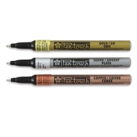Set of 3, X-Fine Tip Markers, Metallic Colors