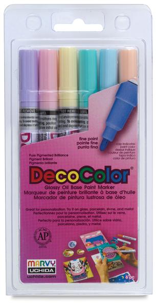 Pastel Colors Set of 6, Fine Tip