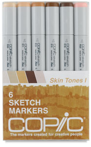 Copic Sketch Marker Set - Skin Tones, Set of 6