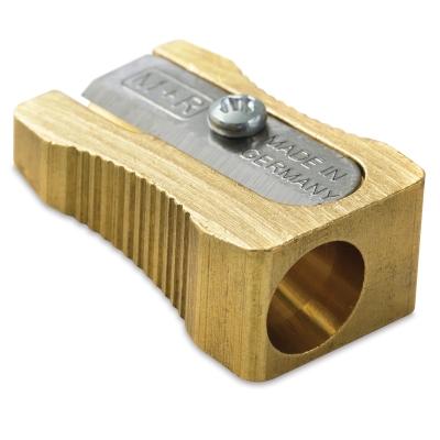 Wedge Brass Pencil Sharpener, Single Hole