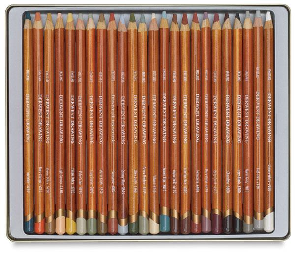24 Tin Soft Tonal Drawing Pencils Derwent Drawing
