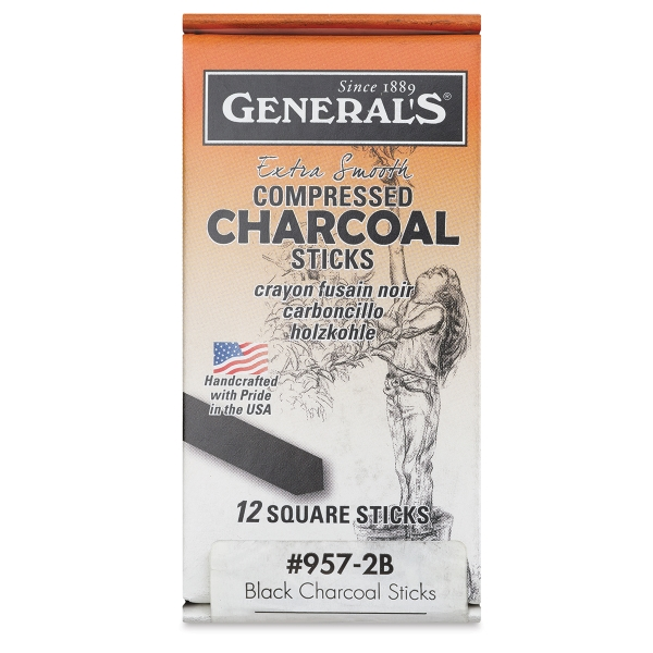 Compressed Charcoal, Set of 12, 2B