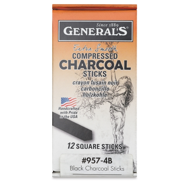 Compressed Charcoal, Set of 12, 4B