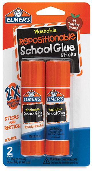 Washable Repositionable Glue Sticks, Pkg of 2