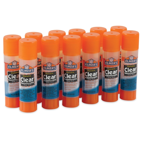 Washable Clear Repositionable Glue Sticks, Pkg of 12