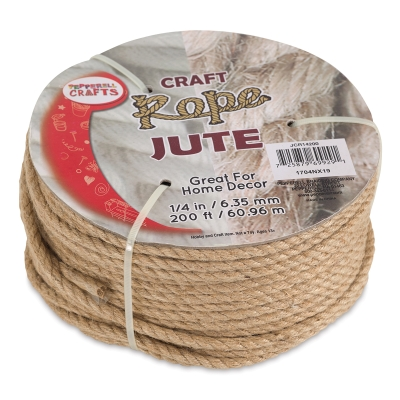 "Natural Jute Craft Rope, 1/4"" Dia"