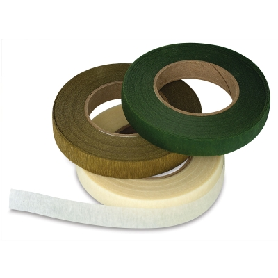 Floral Tape, Pkg of 3,</br>(Cream, Gold, Moss Green)