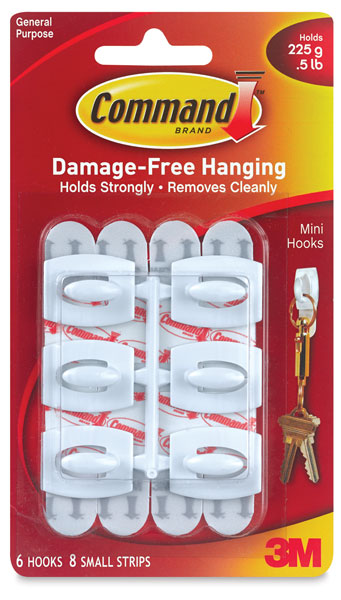 Adhesive Mini Hooks, Pkg of 6