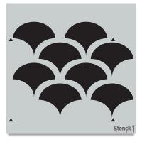 Solid Scallop Stencil, Repeat Pattern
