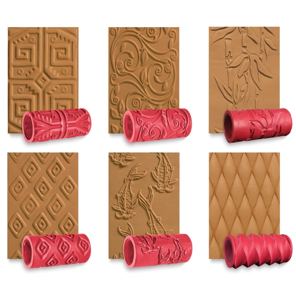 Textured Clay Rollers Set of 6