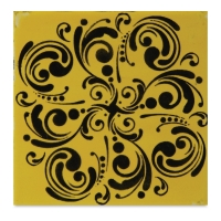 Mayco Designer Stencil, Curlicues Stencil Sample Artwork