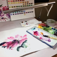 Techne Artist and Drafting Lamp (Shown in use, Watercolors not incuded)