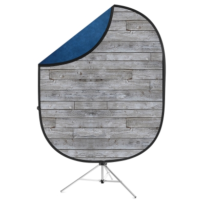 Reversible Collapsible Backdrop Kit(Gray Pine/Navy Blue)