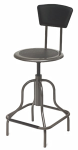High Base Stool with Backrest
