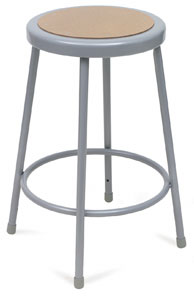 Fixed Height Stool, Gray