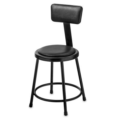 Padded Stool w/ Backrest, Black