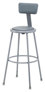 Padded Stool w/ Backrest, Gray