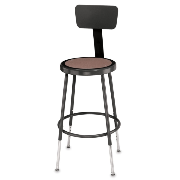 Adjustable Stool with Backrest, Black