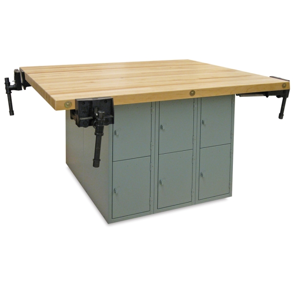 12-Locker Workbench with 4 Woodworking Vises, Vertical Locker
