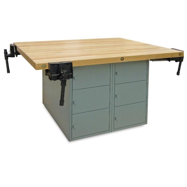 12-Locker Workbench with 4 Woodworking Vises, Horizontal Locker