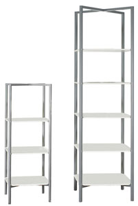 Create special displays quickly and easily with our portable &eacutetag&egraveres. They assemble in seconds - no tools required! Just rotate the legs to open the silver powder-coated metal frame and insert the white MDF shelves. Folds flat for convenient storage. - 5 Shelf
