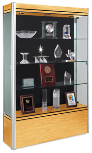 Full Display Case, Light Maple Base with Satin Frame and Black Backing