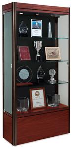Medium Display Case, Cherry Base with Dark Bronze Frame and Black Backing