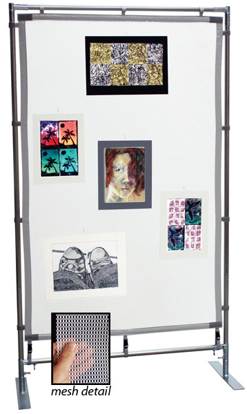 Freestanding Steel MeshPanel Display Wall, 7 ft  × 4 ft