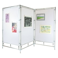 Zig Zag Steel Frame MeshPanel Display Wall w/ Three 4 ft &times 7 ft Panels