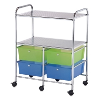 Mobile Storage Cart, 4-Drawer, Blue and Green