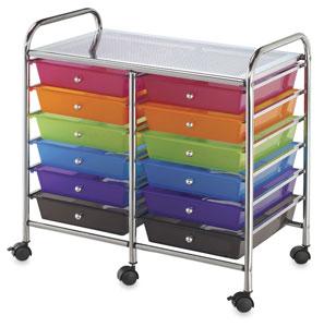 Mobile Storage Cart, 12-Drawer<br>Multi