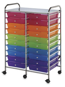 Mobile Storage Cart, 20-Drawer<br>Multi