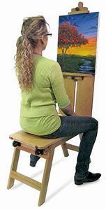 Wood Mobile Bench Easel
