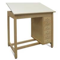 Hann Six-Drawer Wood Drawing Table
