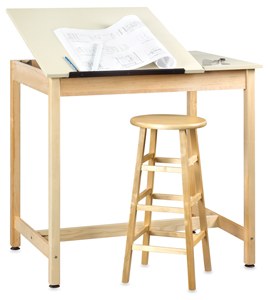 Drawing Table w/out Drawer, 2 Piece Top (stool and accessories not included)