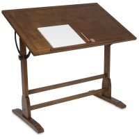 Vintage Drafting Table, Large Table, Rustic Oak