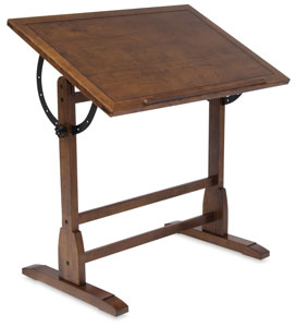 Vintage Drafting Table, Small Table, Rustic Oak