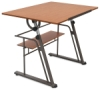 Zenith Drafting Table, Pewter Base / Teak Top
